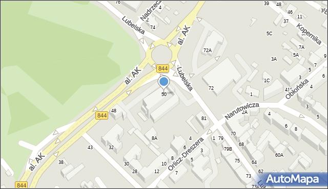 Chełm, Aleja Armii Krajowej, 50, mapa Chełma