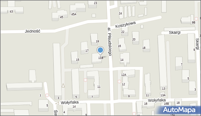 Chełm, Aleja Piłsudskiego Józefa, marsz., 11B, mapa Chełma