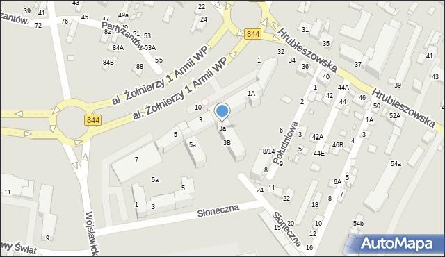 Chełm, Aleja Żołnierzy 1 Armii Wojska Polskiego, 3a, mapa Chełma