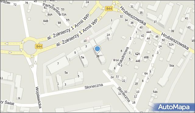 Chełm, Aleja Żołnierzy 1 Armii Wojska Polskiego, 3B, mapa Chełma