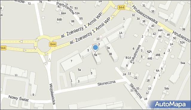 Chełm, Aleja Żołnierzy 1 Armii Wojska Polskiego, 5a, mapa Chełma