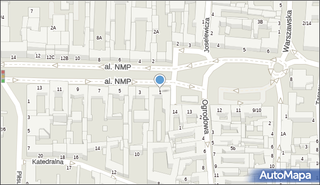 Częstochowa, Aleja Najświętszej Maryi Panny, 1, mapa Częstochowy