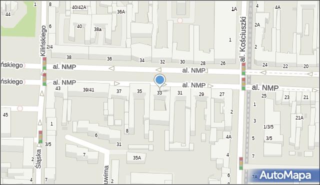 Częstochowa, Aleja Najświętszej Maryi Panny, 33, mapa Częstochowy