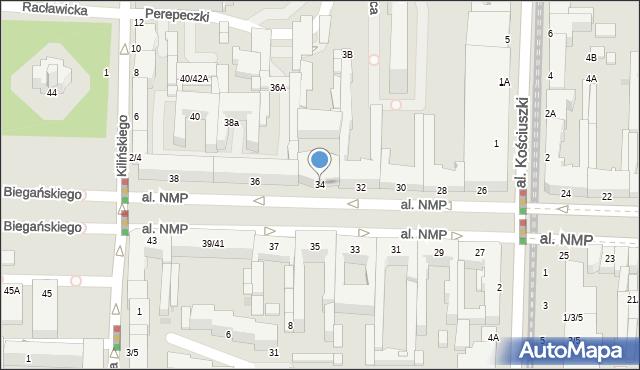 Częstochowa, Aleja Najświętszej Maryi Panny, 34, mapa Częstochowy
