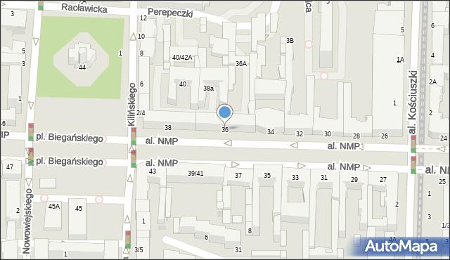 Częstochowa, Aleja Najświętszej Maryi Panny, 36, mapa Częstochowy
