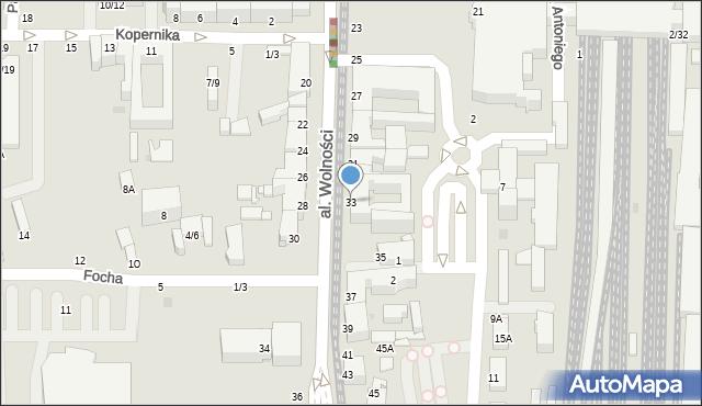 Częstochowa, Aleja Wolności, 33, mapa Częstochowy