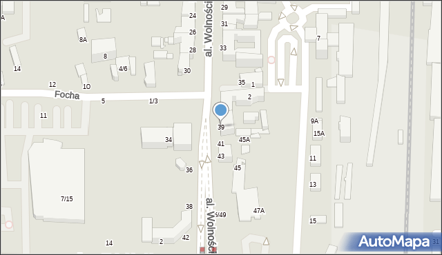 Częstochowa, Aleja Wolności, 39, mapa Częstochowy