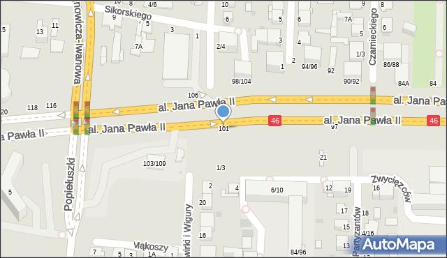 Częstochowa, Aleja Jana Pawła II, 101, mapa Częstochowy