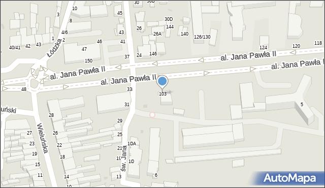 Częstochowa, Aleja Jana Pawła II, 103, mapa Częstochowy