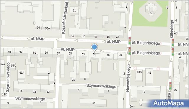 Częstochowa, Aleja Najświętszej Maryi Panny, 51, mapa Częstochowy