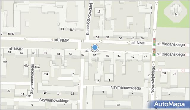 Częstochowa, Aleja Najświętszej Maryi Panny, 55, mapa Częstochowy