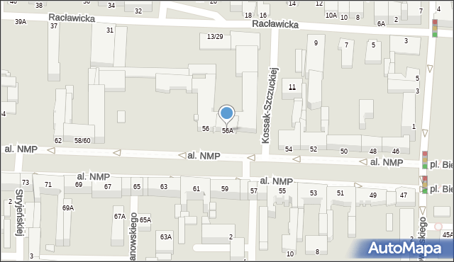 Częstochowa, Aleja Najświętszej Maryi Panny, 56A, mapa Częstochowy