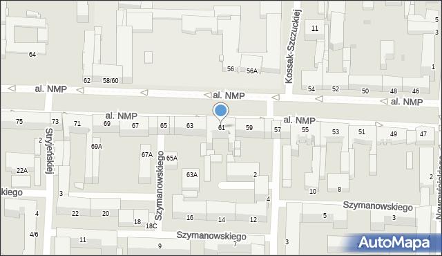 Częstochowa, Aleja Najświętszej Maryi Panny, 61, mapa Częstochowy