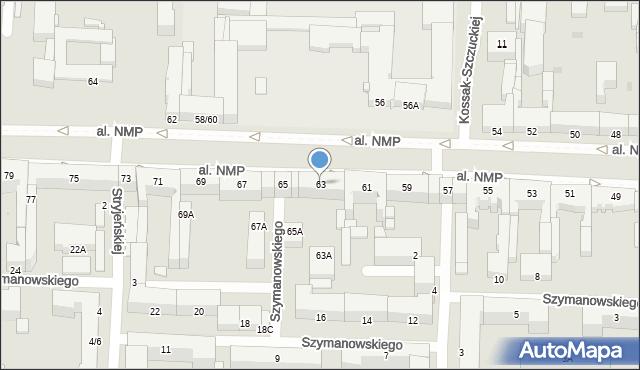 Częstochowa, Aleja Najświętszej Maryi Panny, 63, mapa Częstochowy