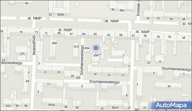 Częstochowa, Aleja Najświętszej Maryi Panny, 63A, mapa Częstochowy