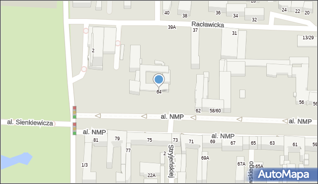 Częstochowa, Aleja Najświętszej Maryi Panny, 64, mapa Częstochowy