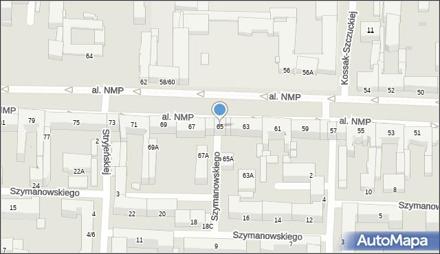 Częstochowa, Aleja Najświętszej Maryi Panny, 65, mapa Częstochowy