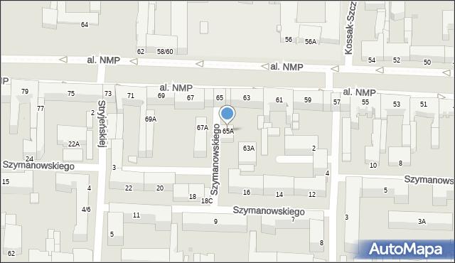 Częstochowa, Aleja Najświętszej Maryi Panny, 65A, mapa Częstochowy