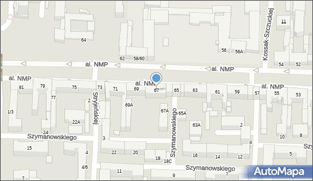 Częstochowa, Aleja Najświętszej Maryi Panny, 67, mapa Częstochowy