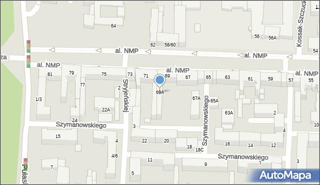 Częstochowa, Aleja Najświętszej Maryi Panny, 69A, mapa Częstochowy
