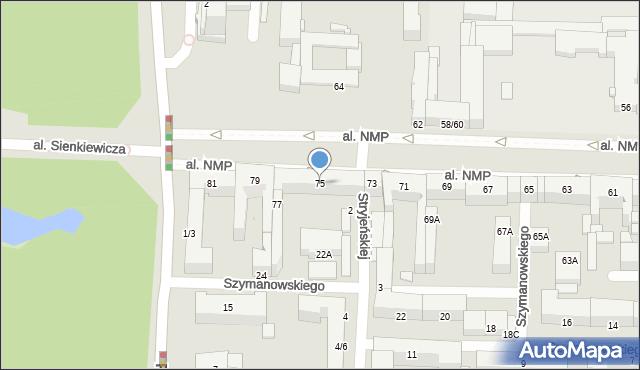 Częstochowa, Aleja Najświętszej Maryi Panny, 75, mapa Częstochowy