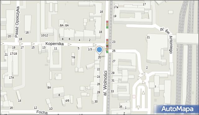 Częstochowa, Aleja Wolności, 20, mapa Częstochowy