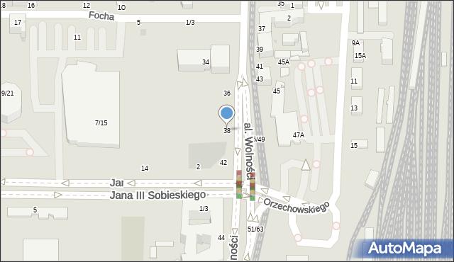 Częstochowa, Aleja Wolności, 38, mapa Częstochowy