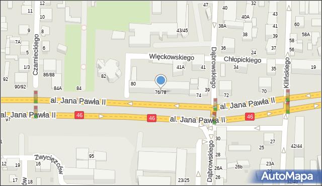 Częstochowa, Aleja Jana Pawła II, 76/78, mapa Częstochowy