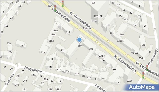 Gdańsk, Aleja Grunwaldzka, 110, mapa Gdańska