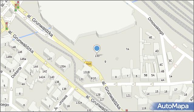 Gdańsk, Aleja Grunwaldzka, 133, mapa Gdańska