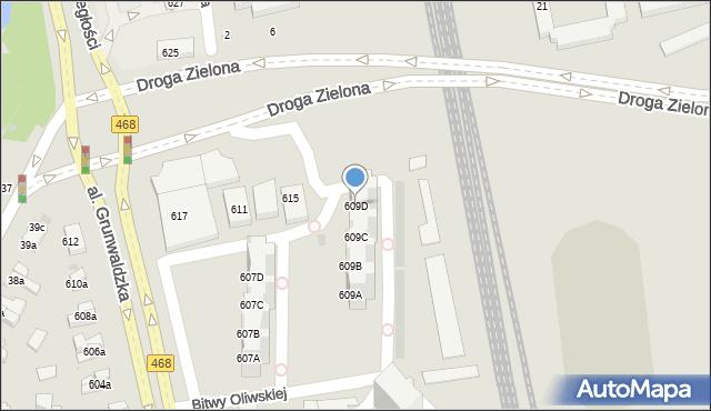 Gdańsk, Aleja Grunwaldzka, 609D, mapa Gdańska