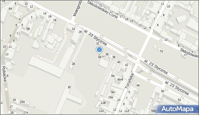 Grudziądz, Aleja 23 Stycznia, 34, mapa Grudziądza