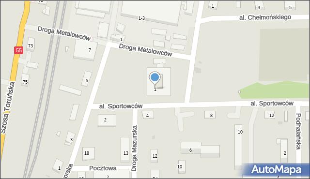 Grudziądz, Aleja Sportowców, 1, mapa Grudziądza