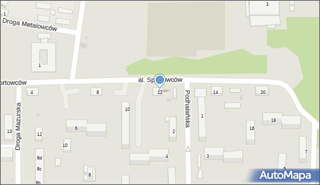 Grudziądz, Aleja Sportowców, 12, mapa Grudziądza