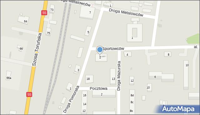 Grudziądz, Aleja Sportowców, 2, mapa Grudziądza
