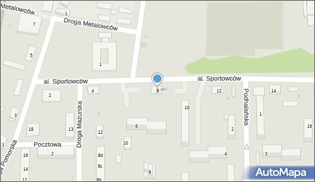 Grudziądz, Aleja Sportowców, 8, mapa Grudziądza