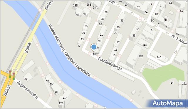 Kołobrzeg, Aleja 1 Armii Wojska Polskiego, 18, mapa Kołobrzegu