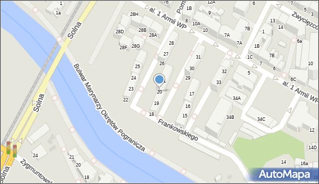 Kołobrzeg, Aleja 1 Armii Wojska Polskiego, 20, mapa Kołobrzegu