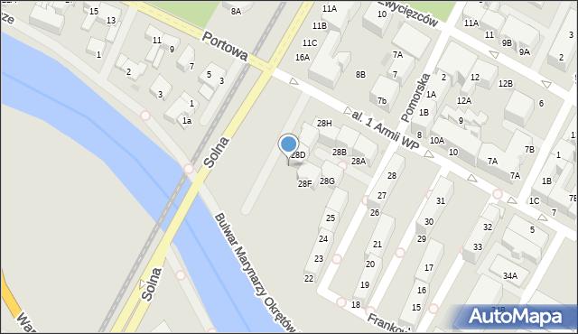 Kołobrzeg, Aleja 1 Armii Wojska Polskiego, 28E, mapa Kołobrzegu