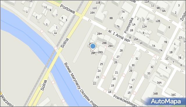 Kołobrzeg, Aleja 1 Armii Wojska Polskiego, 28F, mapa Kołobrzegu