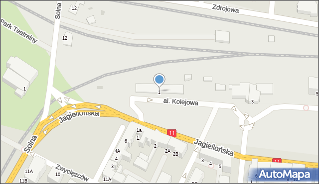 Kołobrzeg, Aleja Kolejowa, 1, mapa Kołobrzegu