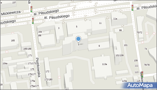 Łódź, Aleja Piłsudskiego Józefa, marsz., 7, mapa Łodzi