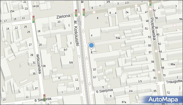 Łódź, Aleja Kościuszki Tadeusza, gen., 8, mapa Łodzi
