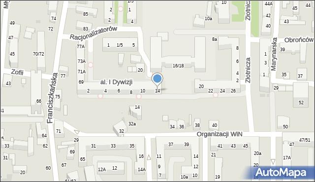 Łódź, Aleja Pierwszej Dywizji, 14, mapa Łodzi