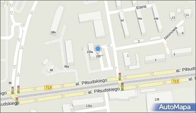Łódź, Aleja Piłsudskiego Józefa, marsz., 100, mapa Łodzi