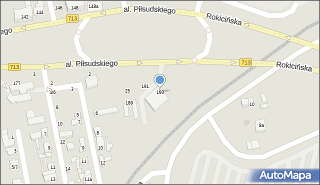 Łódź, Aleja Piłsudskiego Józefa, marsz., 193, mapa Łodzi