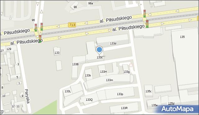 Łódź, Aleja Piłsudskiego Józefa, marsz., 133c, mapa Łodzi
