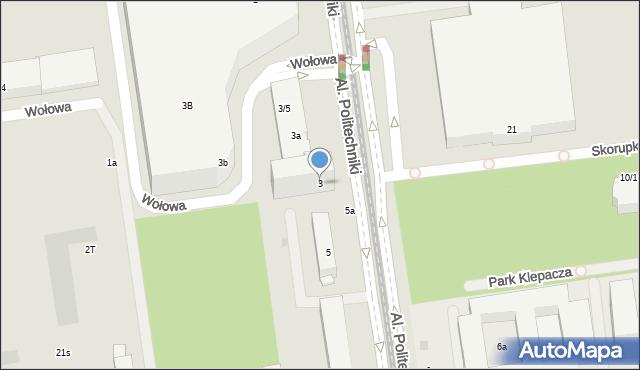 Łódź, Aleje Politechniki, 3, mapa Łodzi