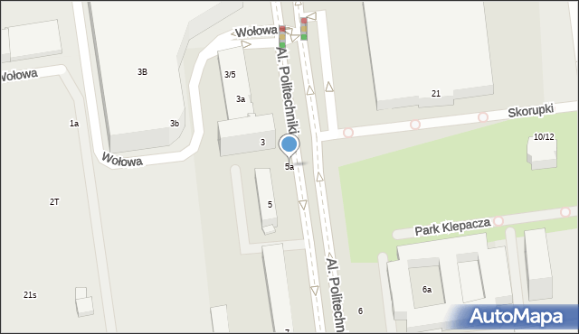 Łódź, Aleje Politechniki, 5a, mapa Łodzi