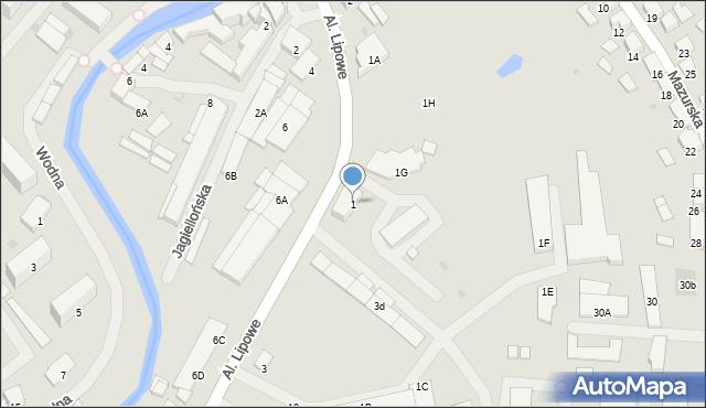 Olecko, Aleje Lipowe, 1, mapa Olecko